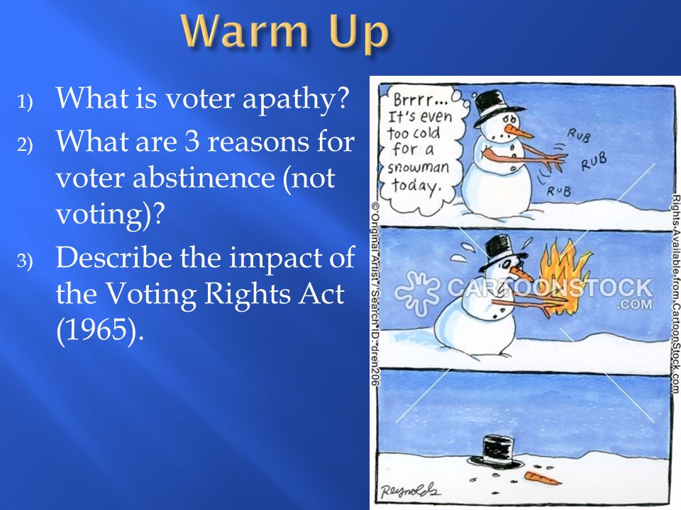 1) What is voter apathy? 2) What are 3 reasons for voter abstinence (not voting)? 3) Describe the impact of the Voting Rights Act (1965).