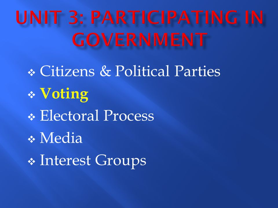 Citizens & Political Parties Voting Electoral Process Media Interest Groups