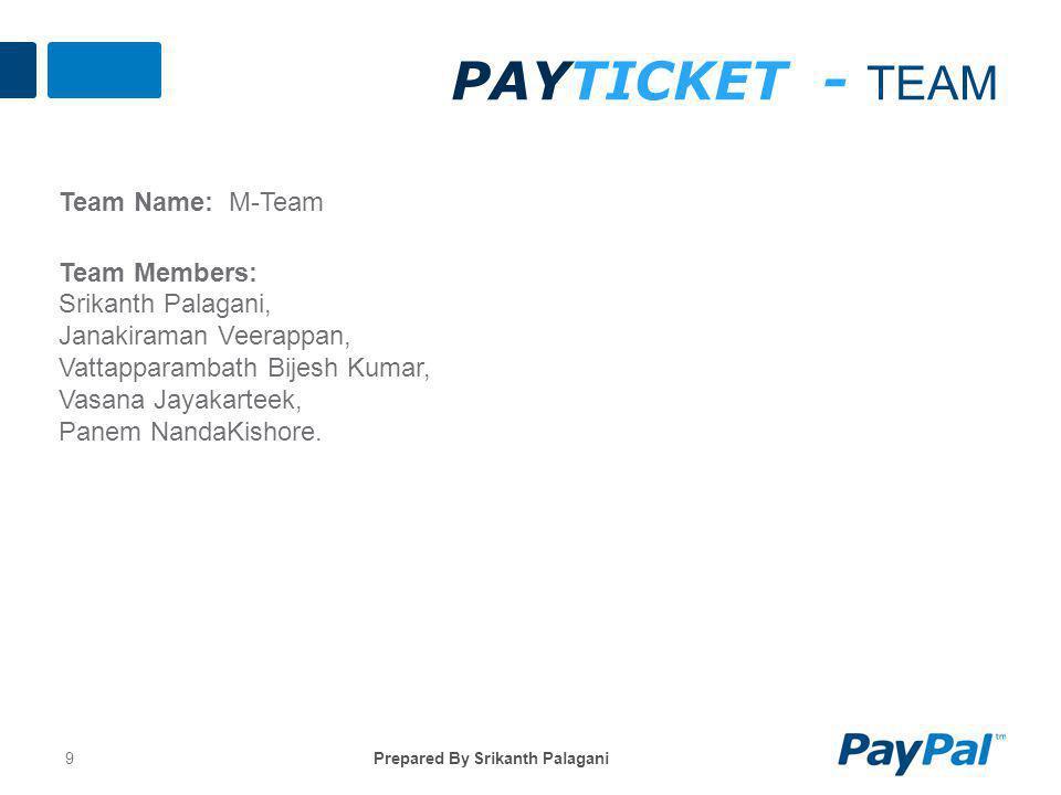 PAYTICKET - TEAM Team Name: M-Team Team Members: Srikanth Palagani, Janakiraman Veerappan, Vattapparambath Bijesh Kumar, Vasana Jayakarteek, Panem NandaKishore.