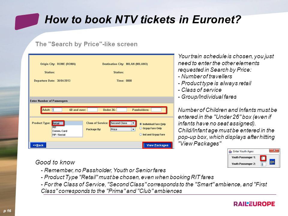 How to book NTV tickets in Euronet? p 16 The