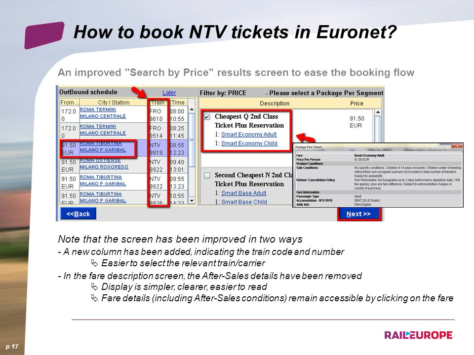 How to book NTV tickets in Euronet? p 17 An improved
