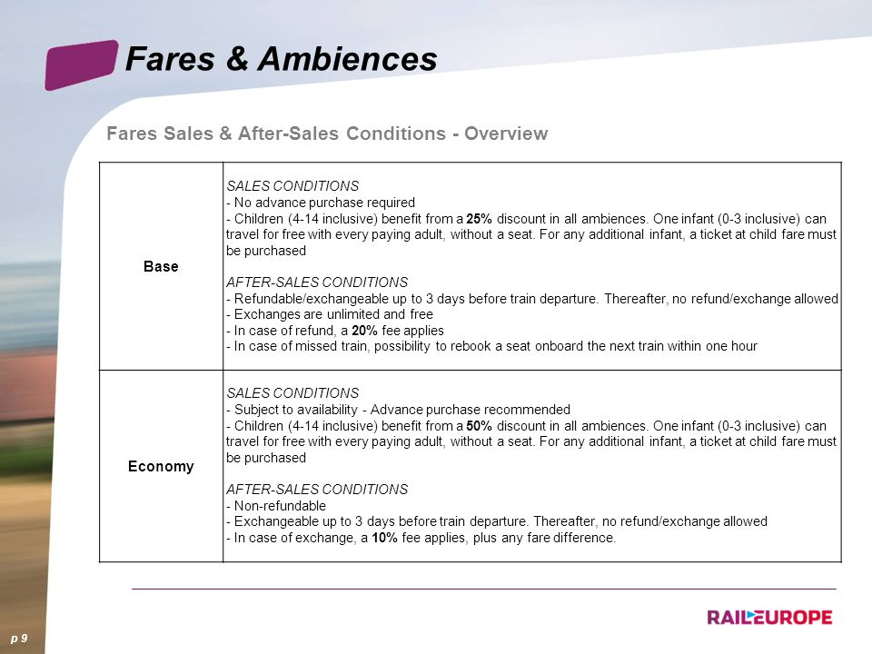 p 9 Fares Sales & After-Sales Conditions - Overview Base SALES CONDITIONS - No advance purchase required - Children (4-14 inclusive) benefit from a 25