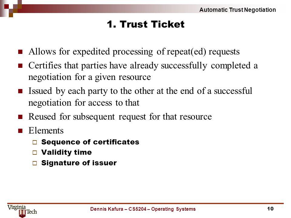 Automatic Trust Negotiation 1.