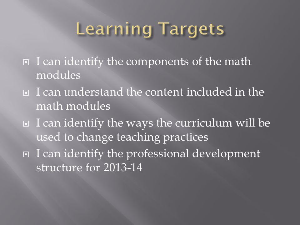 I can identify the components of the math modules I can understand the content included in the math modules I can identify the ways the curriculum will be used to change teaching practices I can identify the professional development structure for