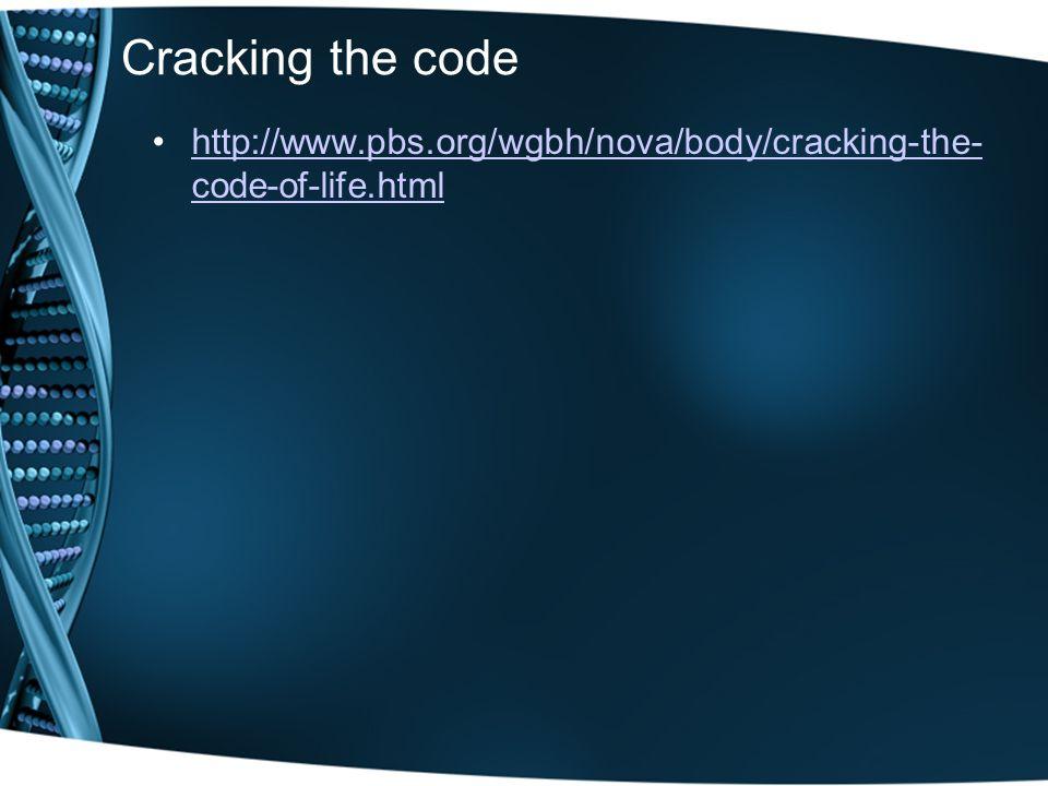 Cracking the code http://www.pbs.org/wgbh/nova/body/cracking-the- code-of-life.htmlhttp://www.pbs.org/wgbh/nova/body/cracking-the- code-of-life.html