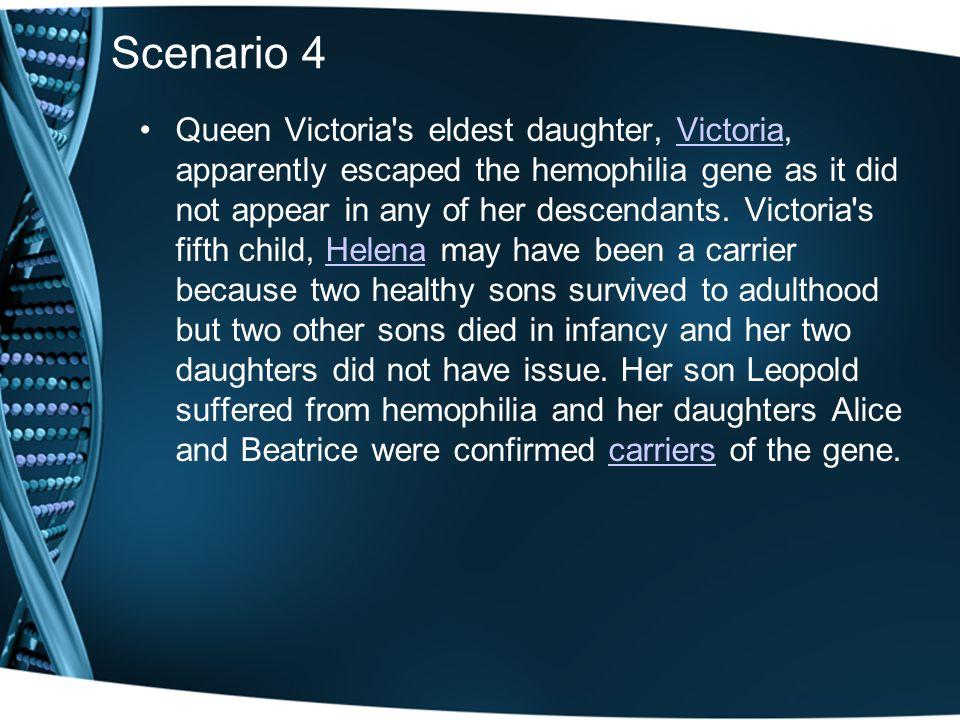 Scenario 4 Queen Victoria's eldest daughter, Victoria, apparently escaped the hemophilia gene as it did not appear in any of her descendants. Victoria