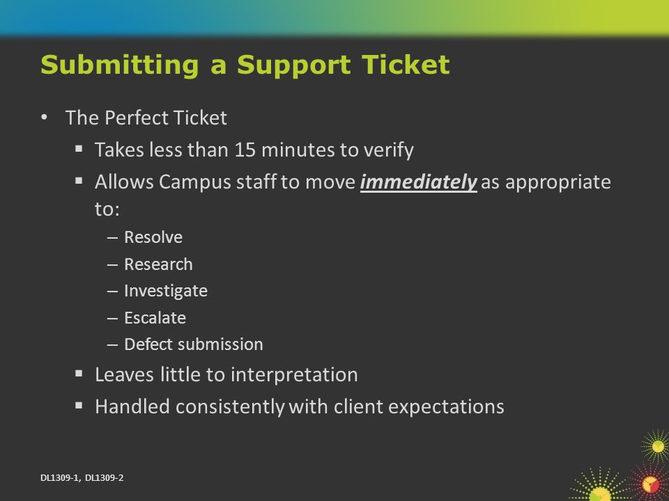 DL1309-1, DL1309-2 The Perfect Ticket Takes less than 15 minutes to verify Allows Campus staff to move immediately as appropriate to: – Resolve – Research – Investigate – Escalate – Defect submission Leaves little to interpretation Handled consistently with client expectations Submitting a Support Ticket