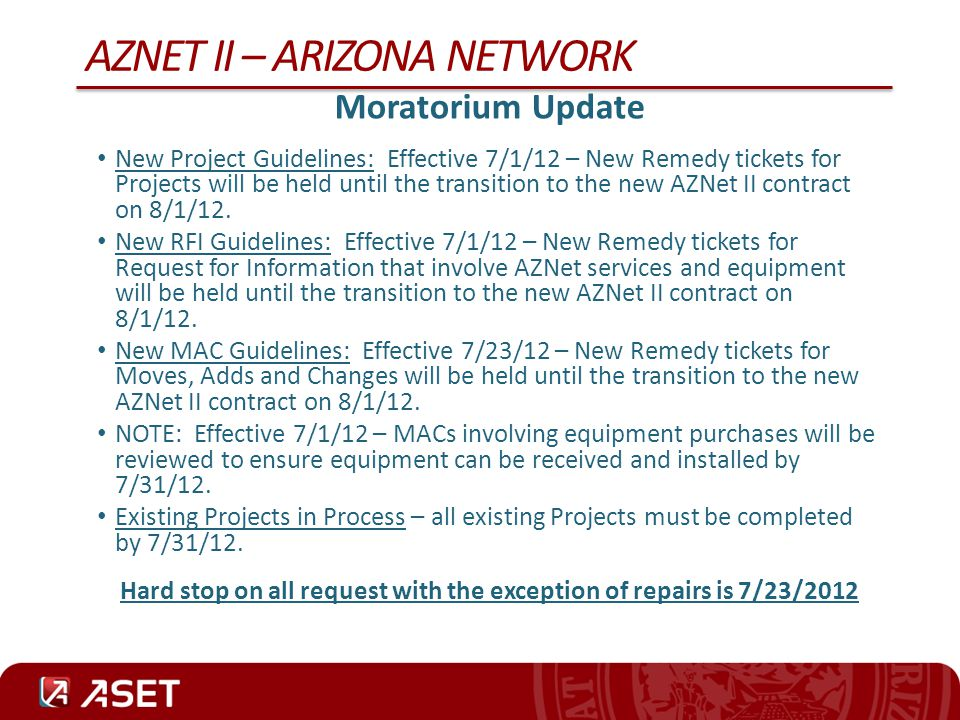 AZNET II – ARIZONA NETWORK LAN Switch Management The Telecommunications Executive Governance Committee (TEGC) met on July 10, 2012 to discuss and vote on a couple of key issues related to the AZNet II contract.