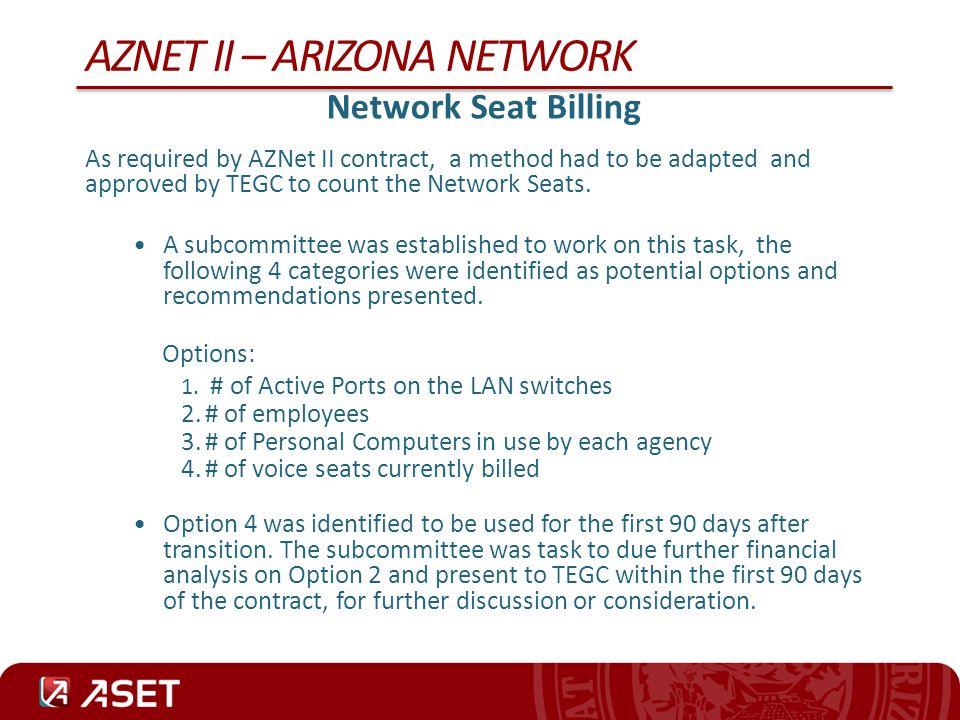 AZNET II – ARIZONA NETWORK CenturyLink Presentation AZNet II Voice & Network Implementation – Hank Adams Solar Winds – Demonstration – Justin Buker Remedy – Demonstration – Brian Bayne