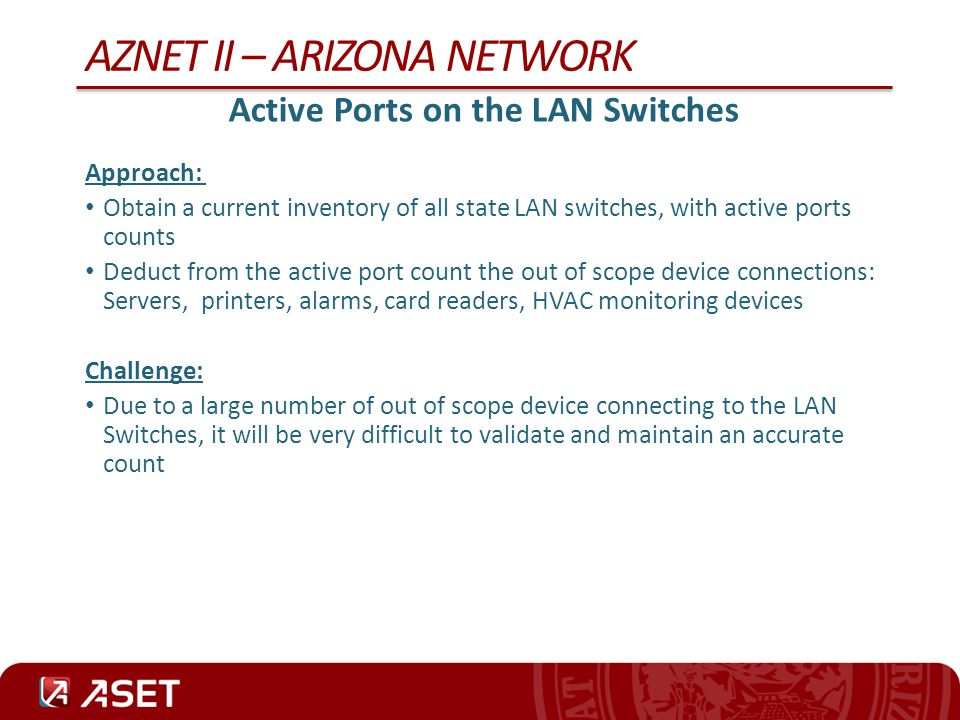 AZNET II – ARIZONA NETWORK Number of Employees Approach: Deducted from the count – employees on 2nd and 3rd shift – employees with primary duties not requiring connection to the IT Network, I.e.