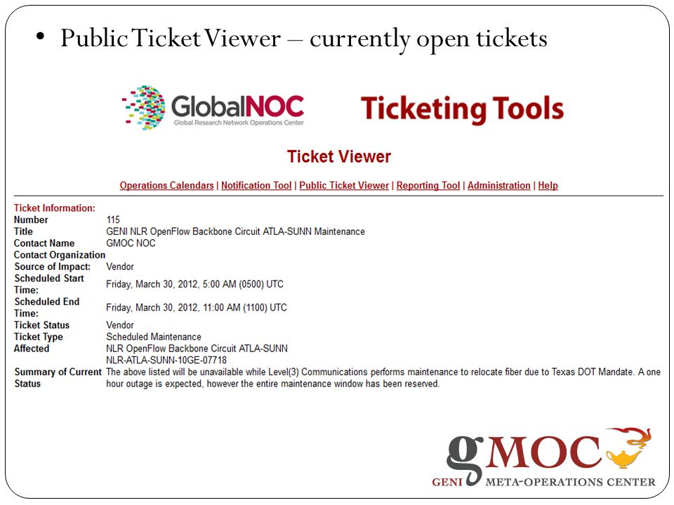 Public Ticket Viewer – currently open tickets