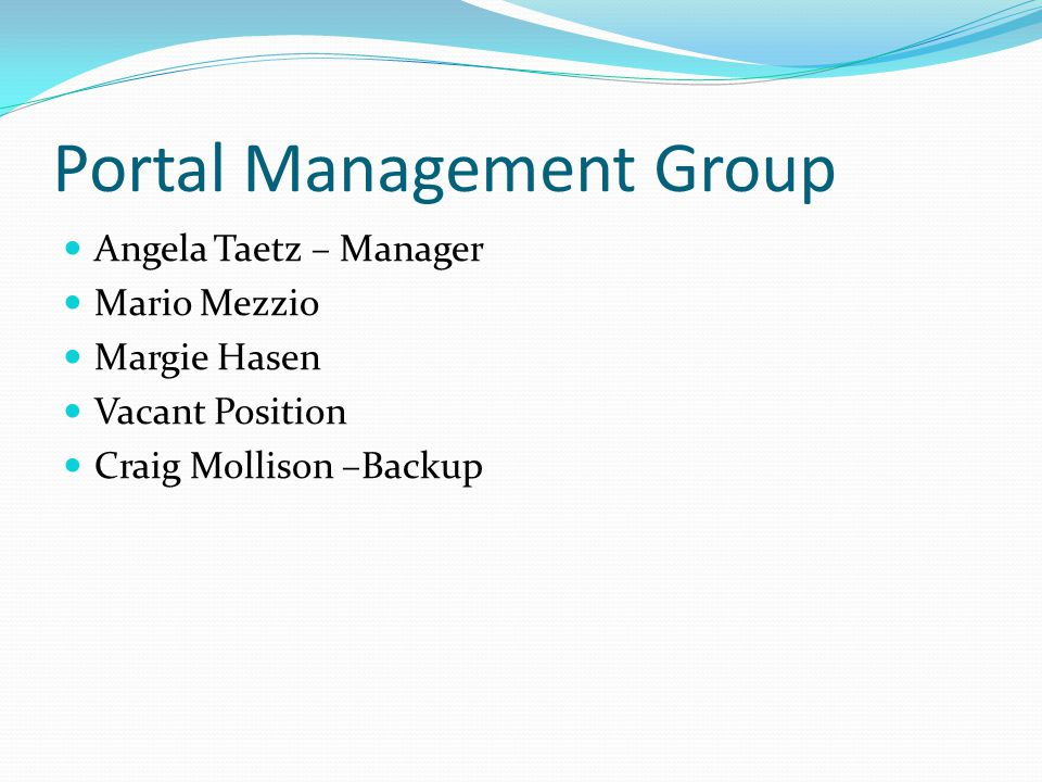 Portal Management Group Angela Taetz – Manager Mario Mezzio Margie Hasen Vacant Position Craig Mollison –Backup