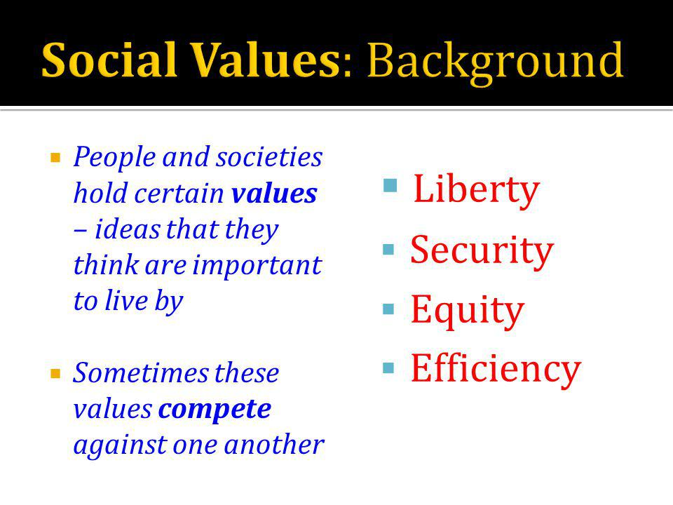 People and societies hold certain values – ideas that they think are important to live by Sometimes these values compete against one another Liberty Security Equity Efficiency