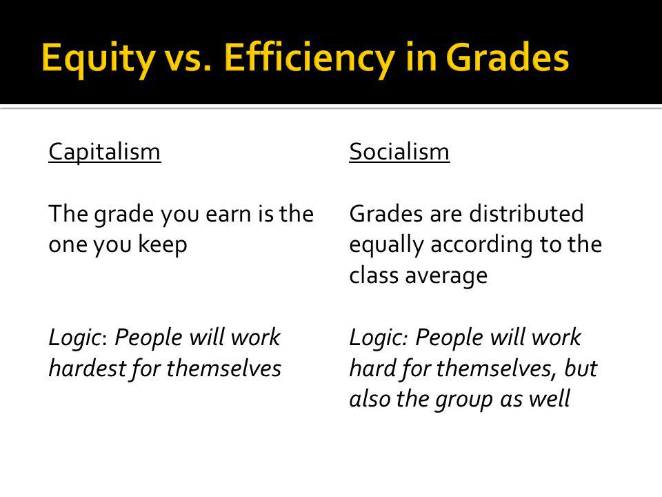Capitalism The grade you earn is the one you keep Logic: People will work hardest for themselves Socialism Grades are distributed equally according to the class average Logic: People will work hard for themselves, but also the group as well