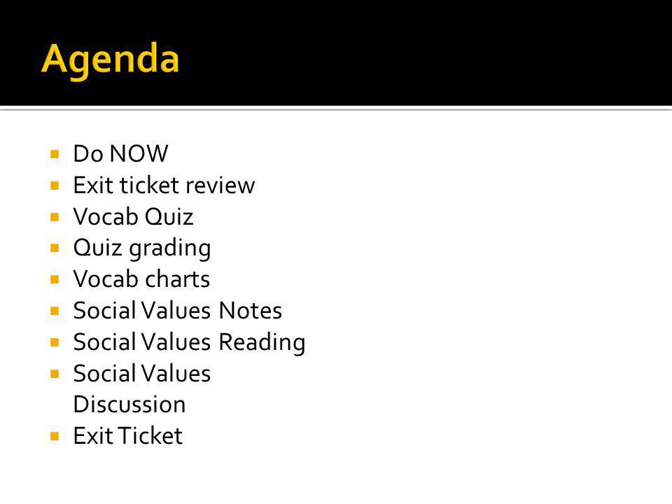 Do NOW Exit ticket review Vocab Quiz Quiz grading Vocab charts Social Values Notes Social Values Reading Social Values Discussion Exit Ticket