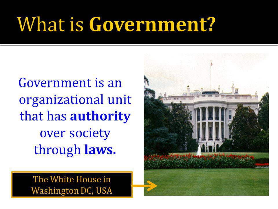 Government is an organizational unit that has authority over society through laws.