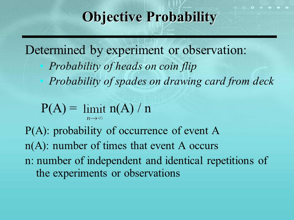 Objective Probability Determined by experiment or observation: Probability of heads on coin flip Probability of spades on drawing card from deck P(A):
