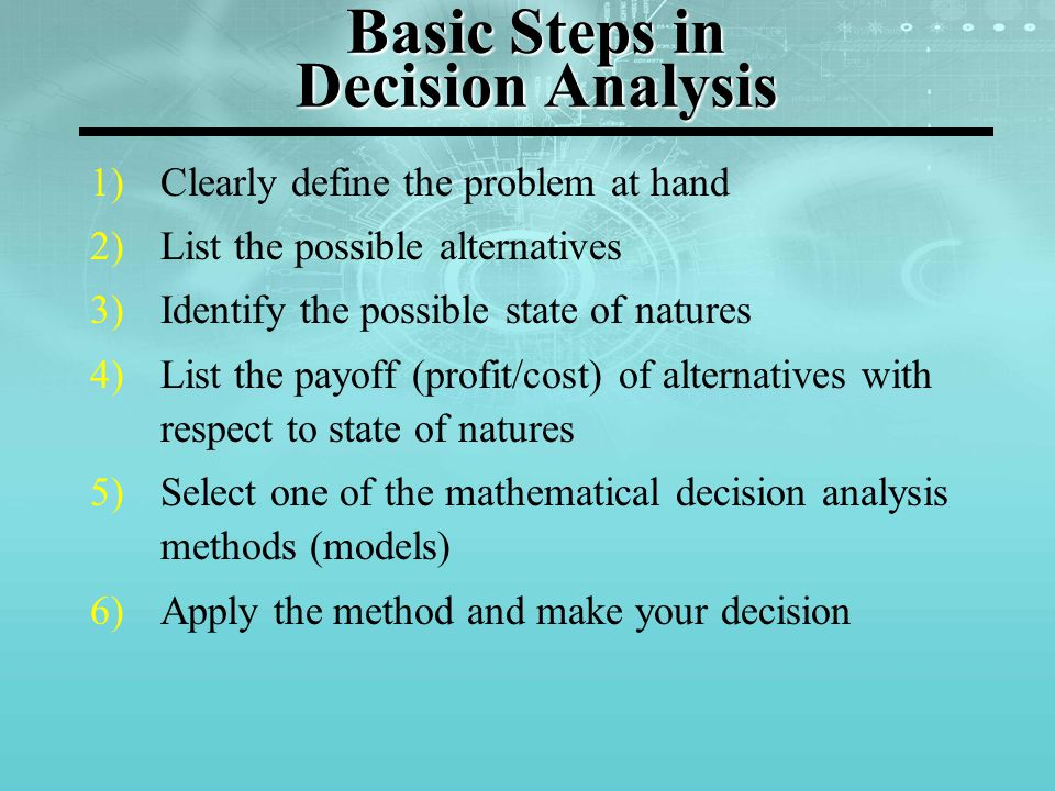 Basic Steps in Decision Analysis 1)Clearly define the problem at hand 2)List the possible alternatives 3)Identify the possible state of natures 4)List