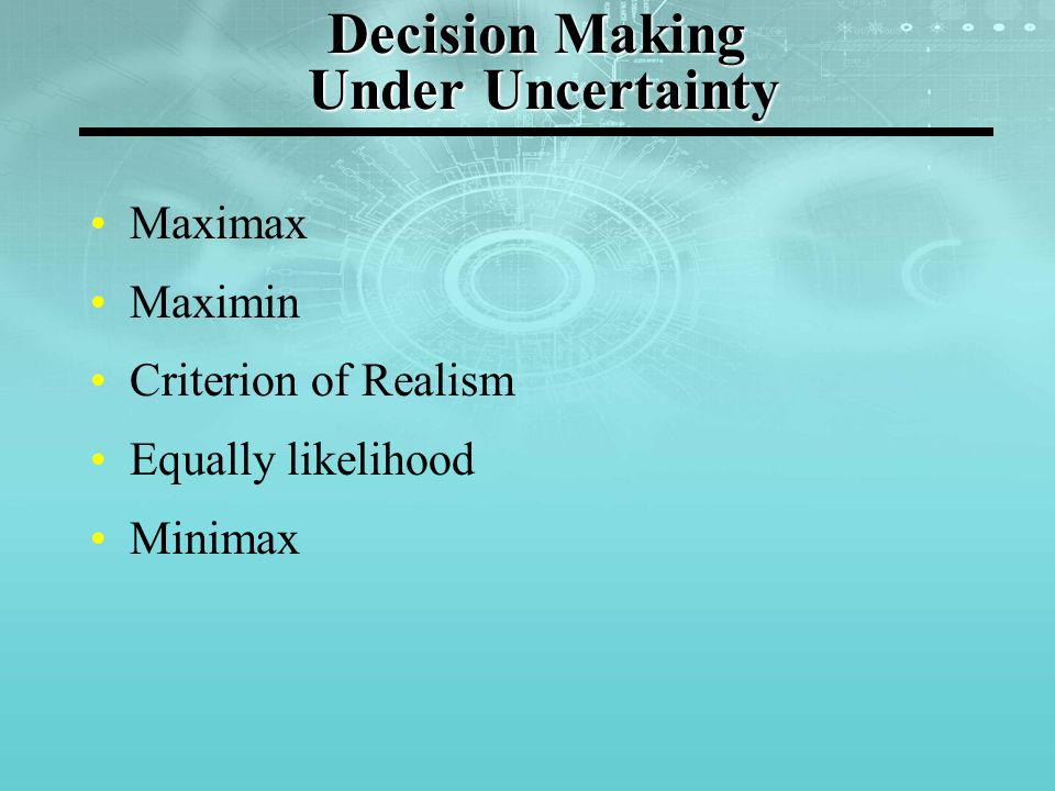 Decision Table / Payoff Matrix