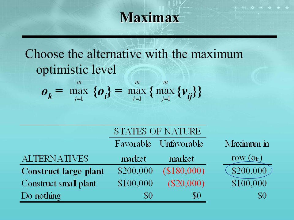 Maximin Choose the alternative with the maximum security level s k = {s i } = { {v ij }}