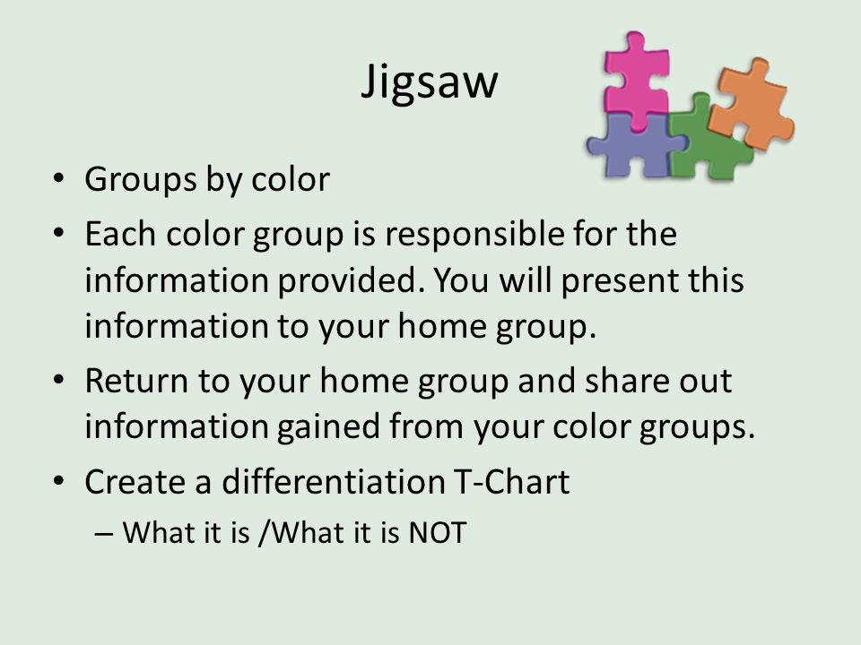Jigsaw Groups by color Each color group is responsible for the information provided. You will present this information to your home group. Return to y