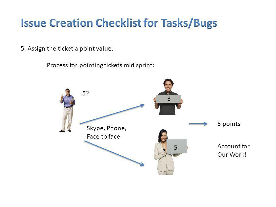 5.Assign the ticket a point value. Process for pointing tickets mid sprint: 5.