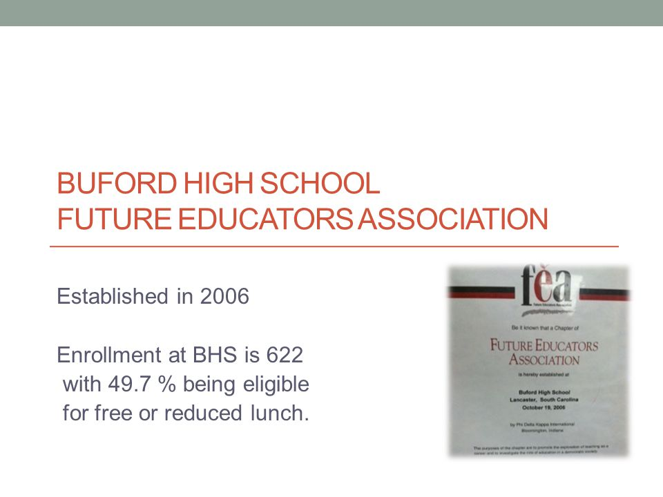 BUFORD HIGH SCHOOL FUTURE EDUCATORS ASSOCIATION Established in 2006 Enrollment at BHS is 622 with 49.7 % being eligible for free or reduced lunch.