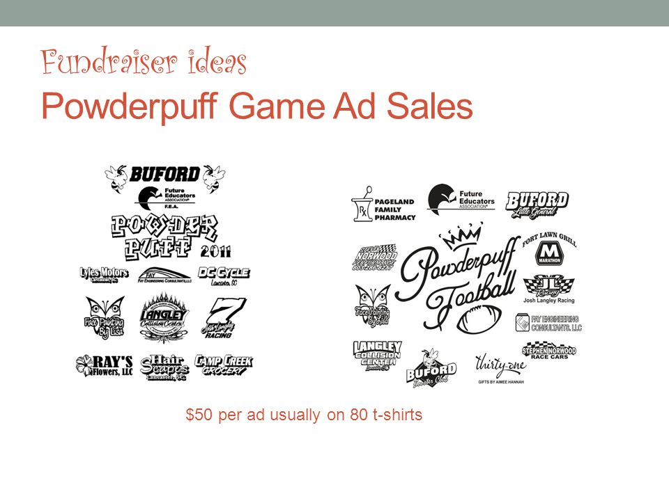 Fundraiser ideas Powderpuff Game Ad Sales $50 per ad usually on 80 t-shirts