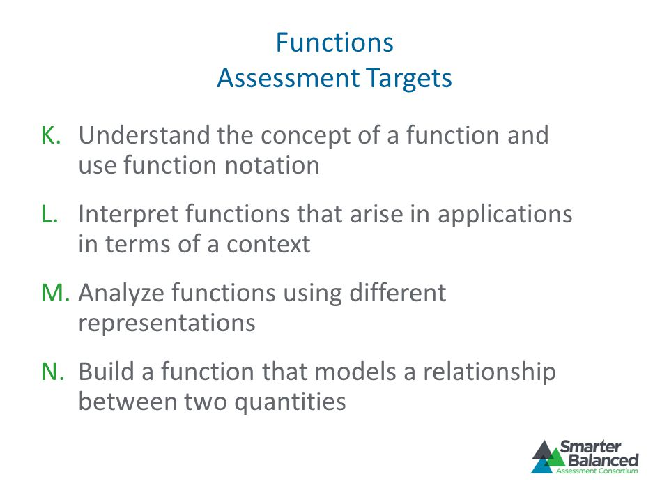Functions Assessment Targets K.Understand the concept of a function and use function notation L.Interpret functions that arise in applications in terms of a context M.Analyze functions using different representations N.Build a function that models a relationship between two quantities