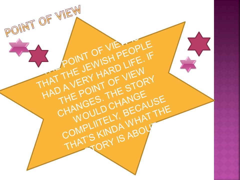 THE POINT OF VIEW IS THAT THE JEWISH PEOPLE HAD A VERY HARD LIFE. IF THE POINT OF VIEW CHANGES. THE STORY WOULD CHANGE COMPLIITELY, BECAUSE THATS KIND