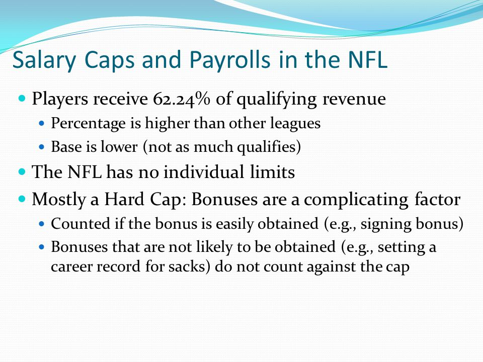 Salary Caps and Payrolls in the NFL Players receive 62.24% of qualifying revenue Percentage is higher than other leagues Base is lower (not as much qualifies) The NFL has no individual limits Mostly a Hard Cap: Bonuses are a complicating factor Counted if the bonus is easily obtained (e.g., signing bonus) Bonuses that are not likely to be obtained (e.g., setting a career record for sacks) do not count against the cap