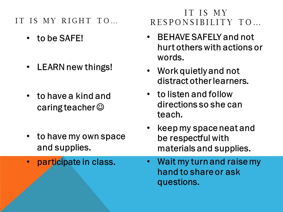 IT IS MY RIGHT TO… to be SAFE.LEARN new things.