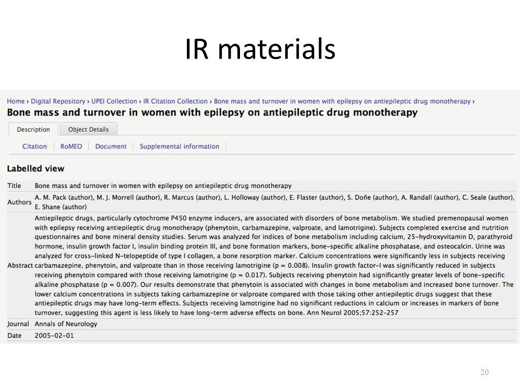 20 IR materials