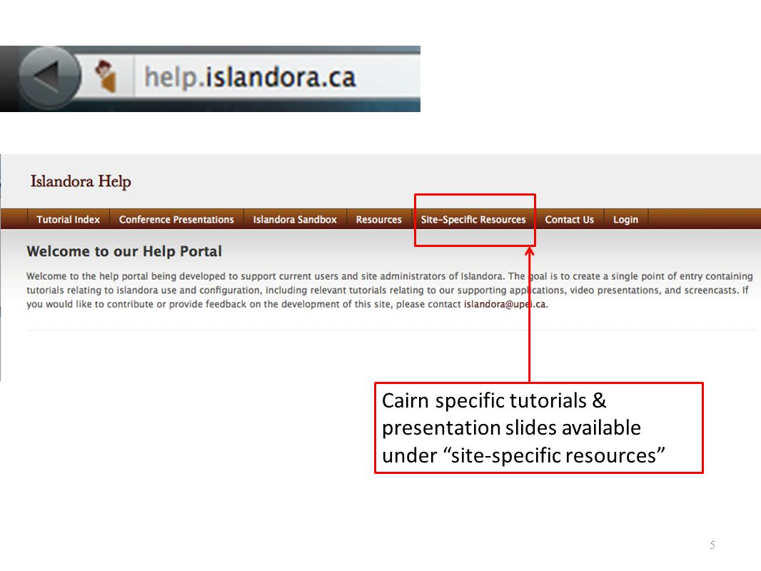 5 Cairn specific tutorials & presentation slides available under site-specific resources