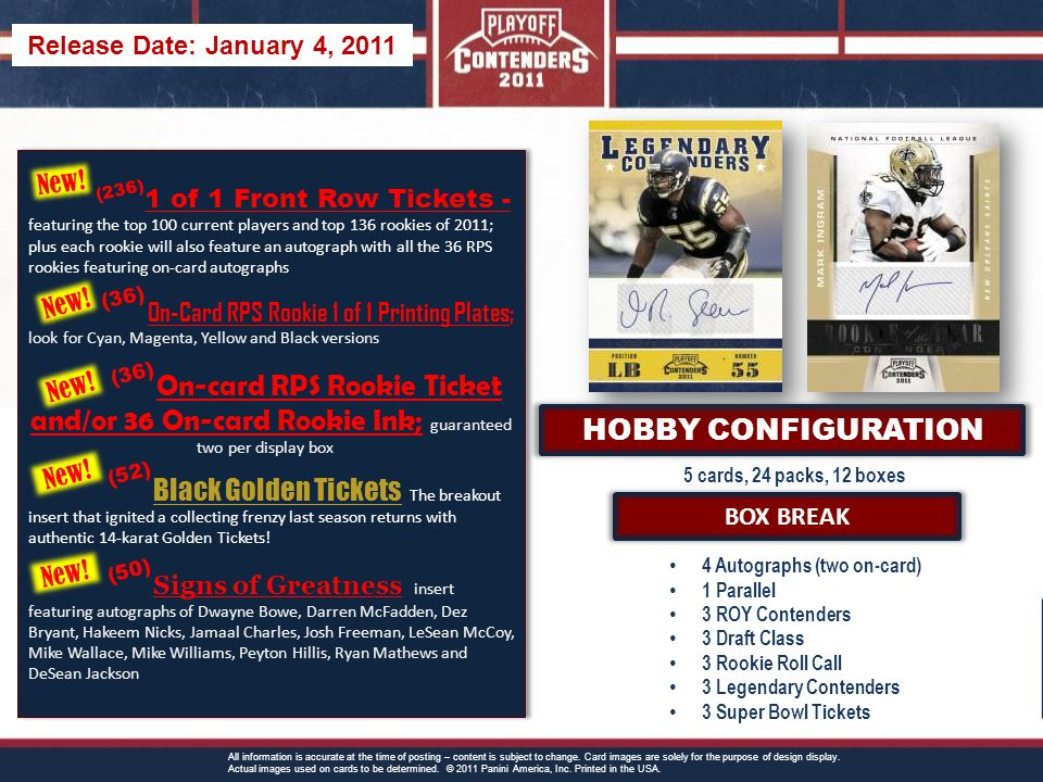 5 cards, 24 packs, 12 boxes BOX BREAK 4 Autographs (two on-card) 1 Parallel 3 ROY Contenders 3 Draft Class 3 Rookie Roll Call 3 Legendary Contenders 3 Super Bowl Tickets All information is accurate at the time of posting – content is subject to change.