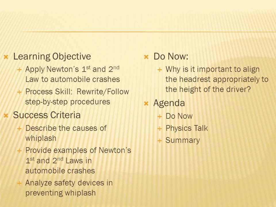 How does Newtons Second Law apply to rear- end collisions and whiplash?