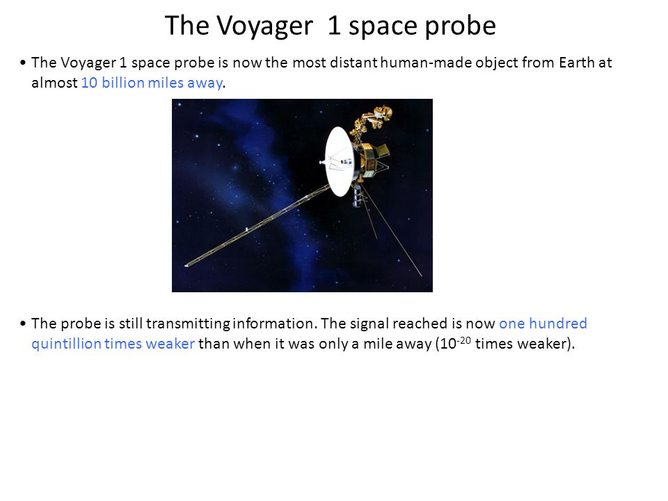 The Voyager 1 space probe is now the most distant human-made object from Earth at almost 10 billion miles away.