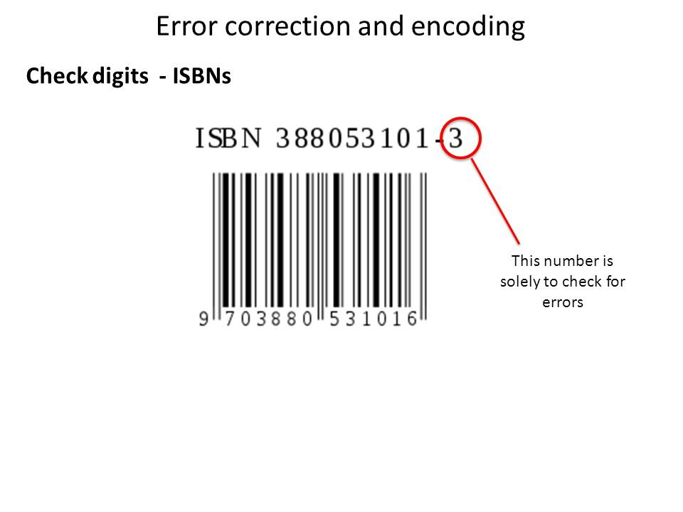 Error correction and encoding Check digits - ISBNs This number is solely to check for errors