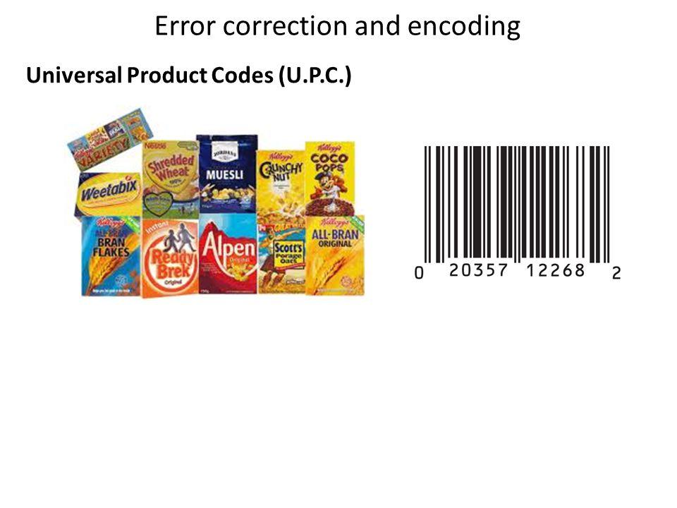 Error correction and encoding Universal Product Codes (U.P.C.)