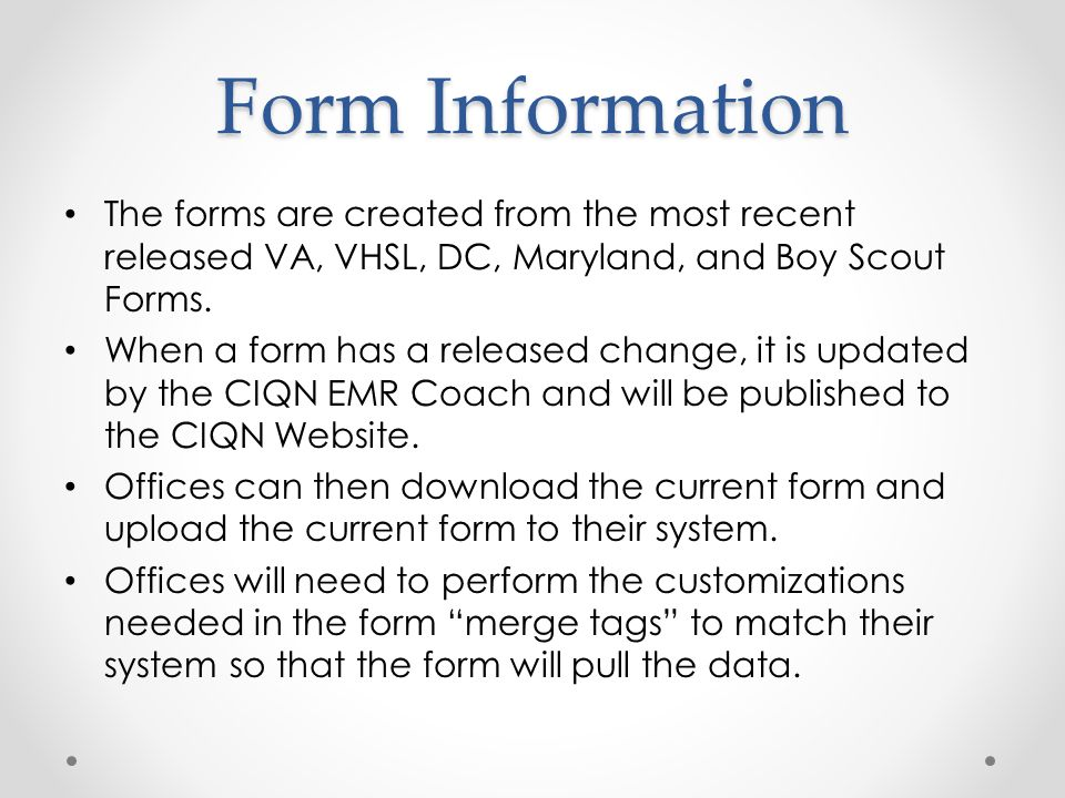 Form Information The forms are created from the most recent released VA, VHSL, DC, Maryland, and Boy Scout Forms.