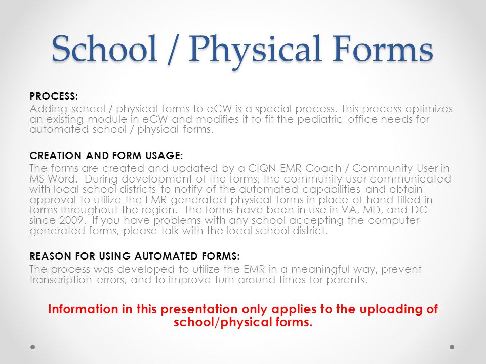 Presentation On Adding SchoolPhysical Forms School  Physical