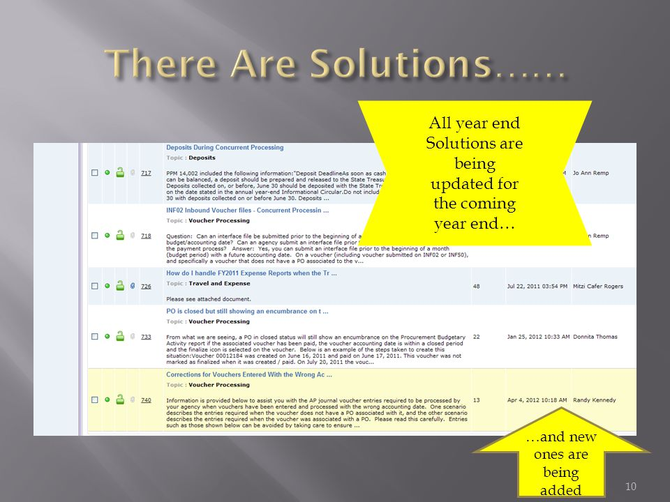 All year end Solutions are being updated for the coming year end… …and new ones are being added 10