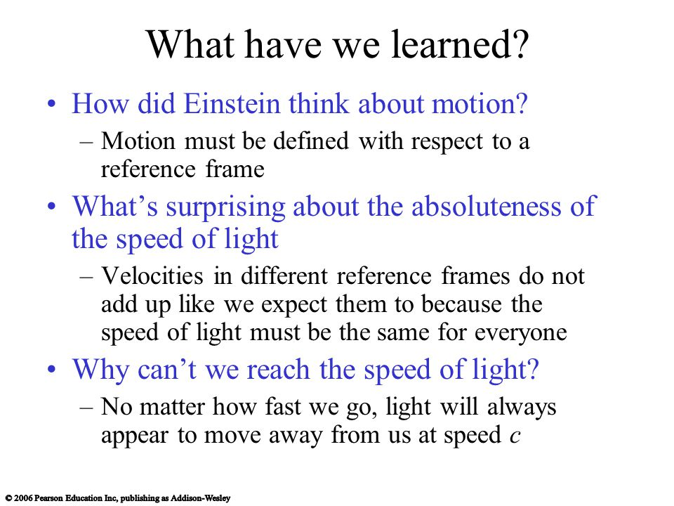 What have we learned. How did Einstein think about motion.