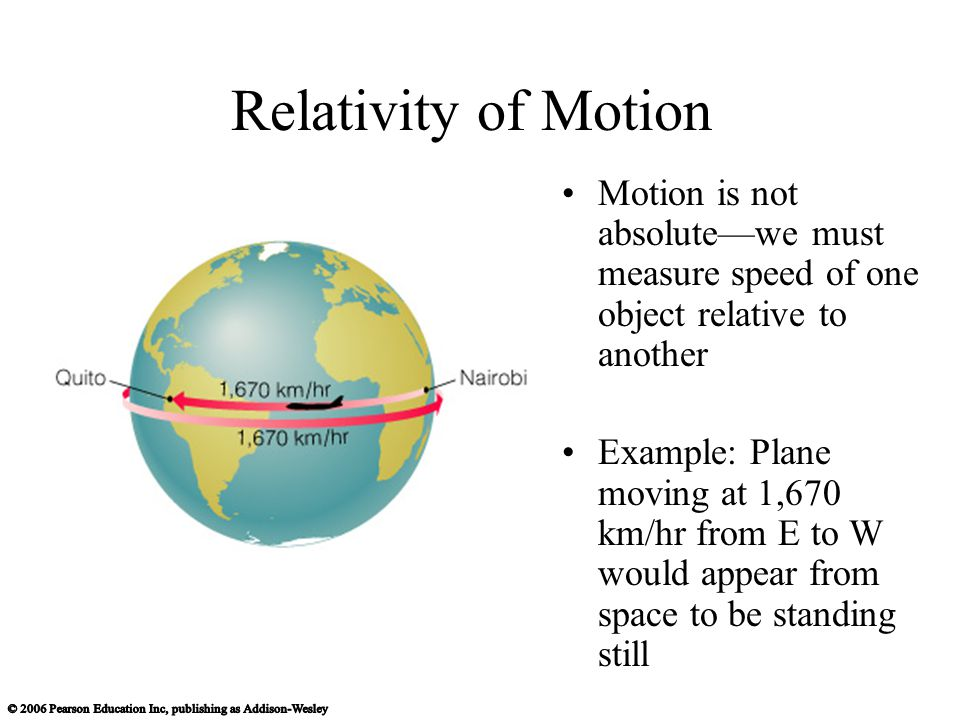 Relativity of Motion Motion is not absolutewe must measure speed of one object relative to another Example: Plane moving at 1,670 km/hr from E to W would appear from space to be standing still