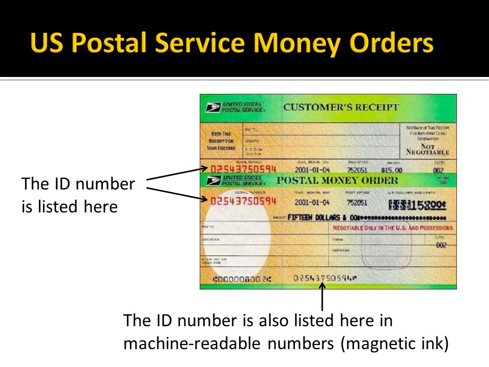 The ID number is listed here The ID number is also listed here in machine-readable numbers (magnetic ink)