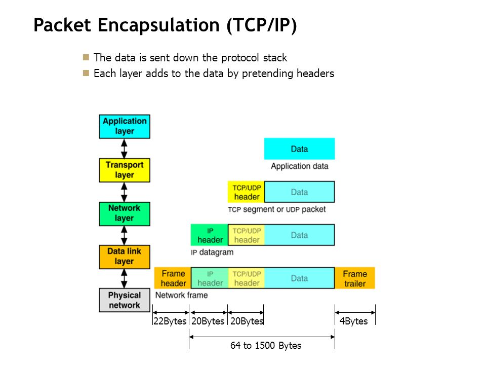 Packet Encapsulation (TCP/IP) The data is sent down the protocol stack Each layer adds to the data by pretending headers 22Bytes20Bytes 4Bytes 64 to 1