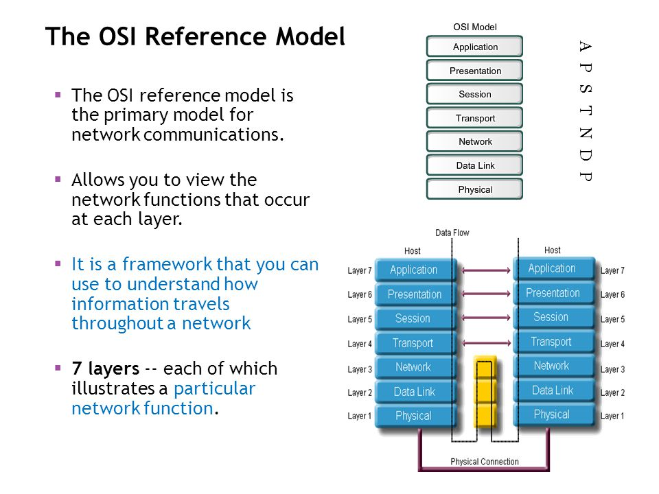 The OSI Reference Model The OSI reference model is the primary model for network communications. Allows you to view the network functions that occur a
