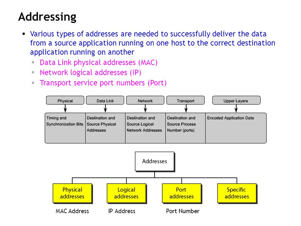 Various types of addresses are needed to successfully deliver the data from a source application running on one host to the correct destination applic