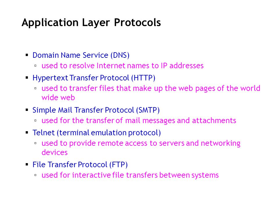 Application Layer Protocols Domain Name Service (DNS) used to resolve Internet names to IP addresses Hypertext Transfer Protocol (HTTP) used to transf