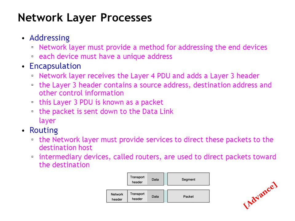 Ch 5 - 80 Network Layer Processes Addressing Network layer must provide a method for addressing the end devices each device must have a unique address